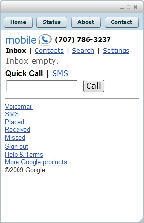 Google Voice screen