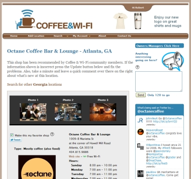 Coffee and Wi-Fi Web site